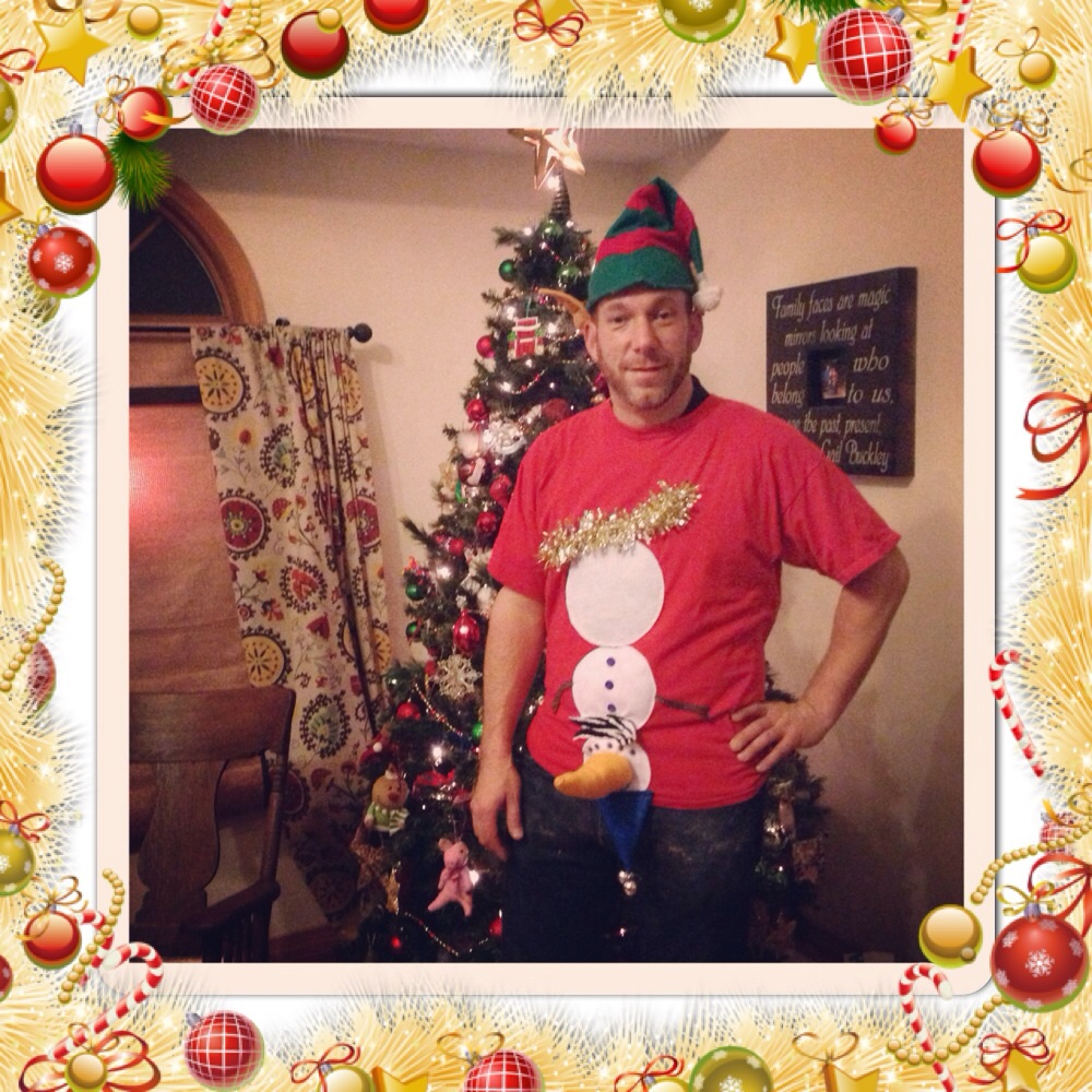 Oops! Our snowman slipped on the ice & landed upside down on this amazing custom Christmas top. Perfect for any Christmas party- even one where the heat is on. Custom shirt made by me- Rosie Lozano (modeled by my Husband Dan Lozano) from Charleston, IL. Email pags99@hotmail.com
