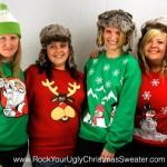Picture of Yorkshire girls wearing cheesy Christmas jumpers
