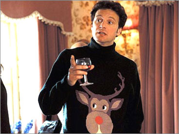 Picture of Colin Firth in ugly Christmas sweater pullover in Bridget Jones