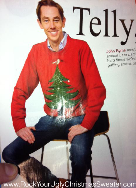 Picture of Ryan Tubridy Tubs in red ugly Christmas sweater