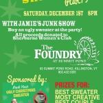 Rock Your Ugly Christmas Sweater party poster Killington, VT Dec 1