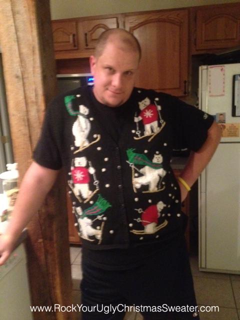 Polar bear ski ugly Christmas sweater