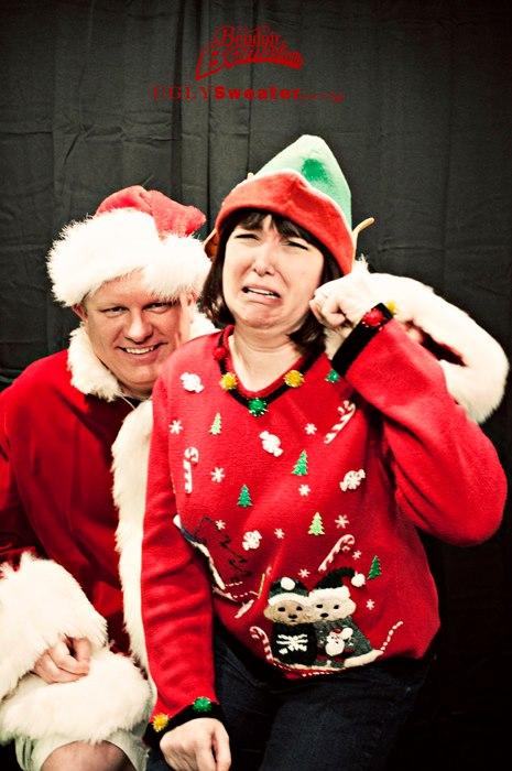 Boudoir Bombshells crying on Santa's lap