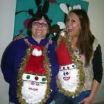 Twin Santas ugly Christmas sweaters
