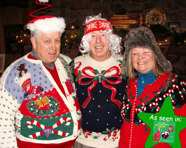 Three ugly Christmas sweaters
