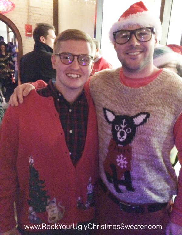 chihuahua ugly christmas sweater and cats ugly Christmas sweater at Christmas Crawl DC