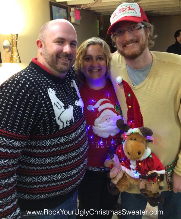 Naughty polar bears and ugly Christmas sweaters with lights at Christmas Crawl DC