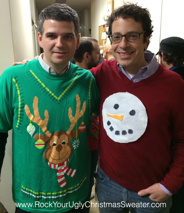 Reindeer ugly Christmas sweater t-shirt and homemade snowman ugly Christmas sweater