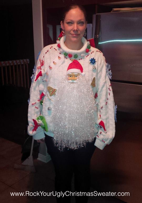 Santa beard ugly Christmas sweater