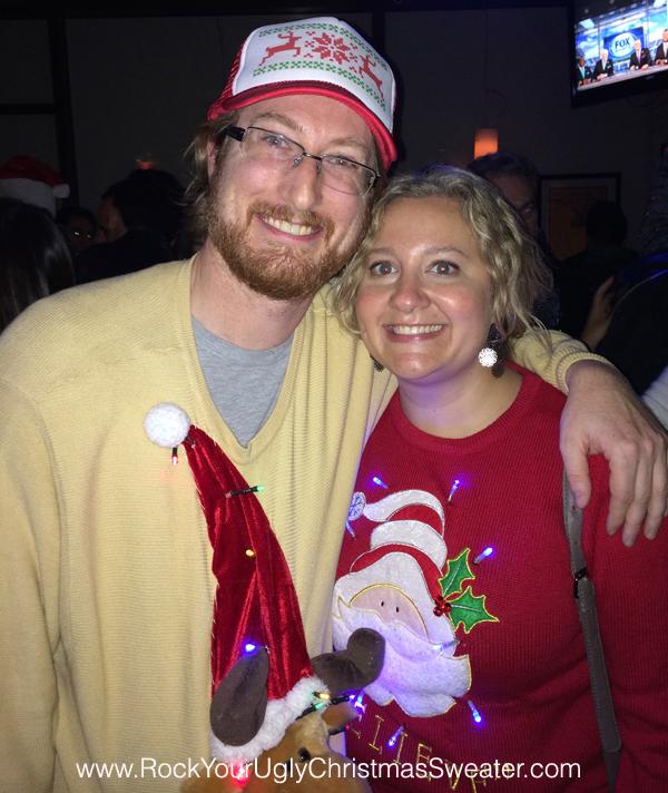 Ugly Christmas sweaters with lights at Christmas Crawl DC