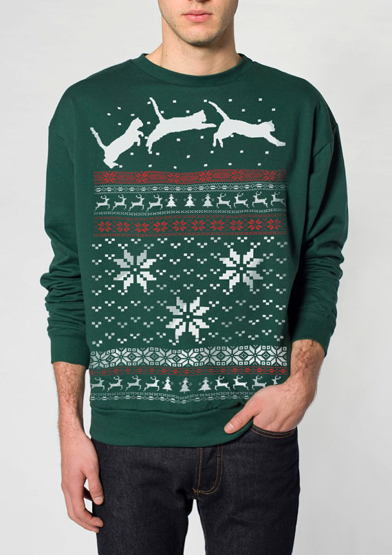 Jumping cats ugly Christmas sweater