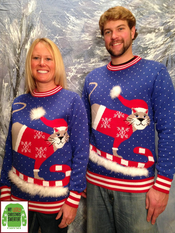 His and hers cat ugly Christmas sweaters