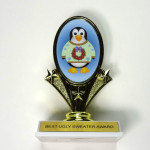 Penguin ugly Christmas sweater trophy