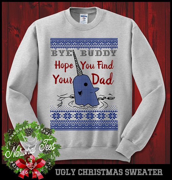 Rock Your Ugly Christmas Sweater Rock The Narwhal From Elf On Your