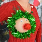 Bare breast reindeer pasty ugly Christmas sweater