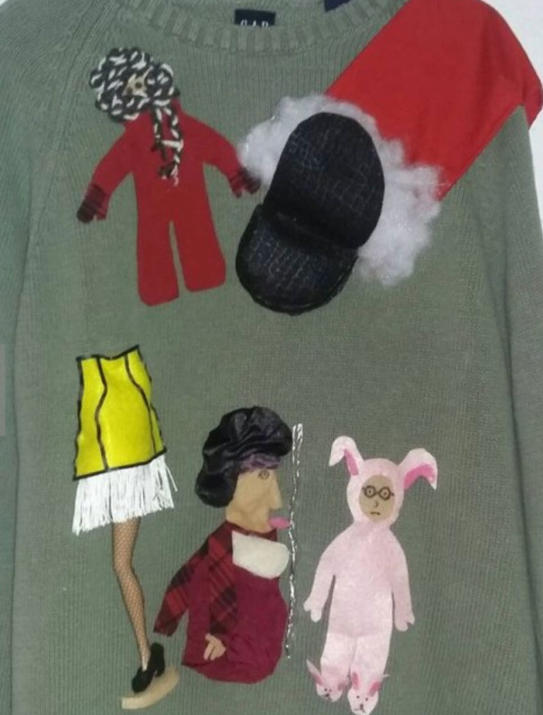 A Christmas Story ugly Christmas sweater, with leg lamp, tongue on pole, bunny suit