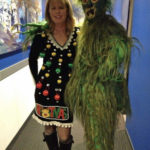 Grinch costume and ugly Christmas sweater dress with ornaments